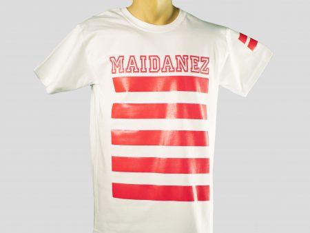 tricou maidanez alb cu dungi rosii